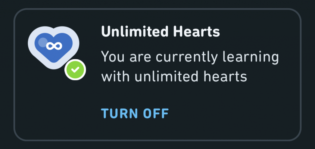 Unlimited hearts means you no longer have to worry about making mistakes.