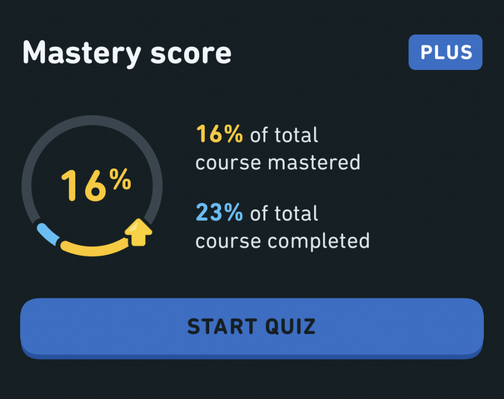 The Mastery Quiz shows you how much of the course you've completed and how much you've mastered.