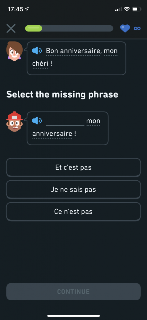 Duolingo Stories - select the missing phrase