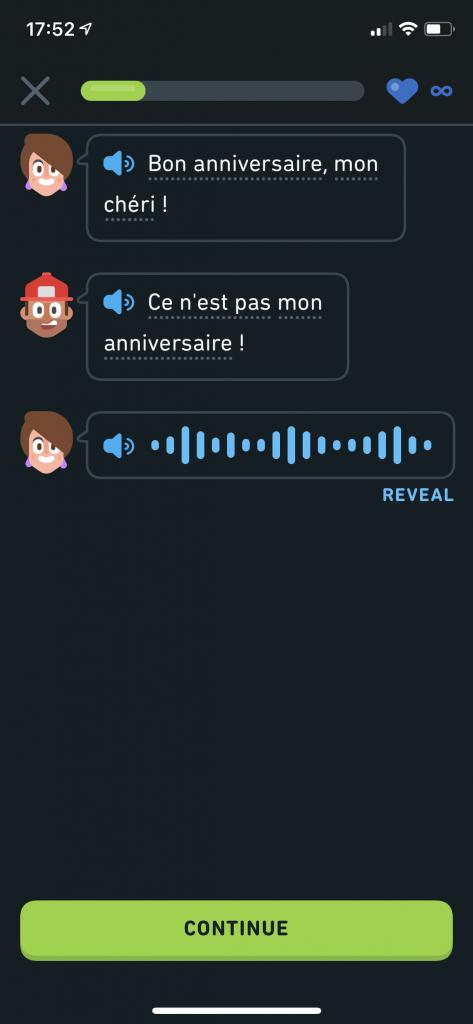 Duolingo Stories listening exercise