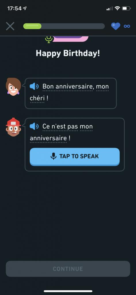 Duolingo Stories speaking exercise